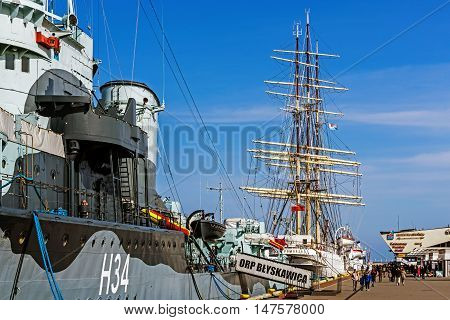 GDYNIA, POLAND - APRIL 10, 2016: The Dar Pomorza (Gift of the Pomerania) sailing frigate. Built in 1909 served as a training vessel for the Polish Naval Academy preserved as a museum ship.