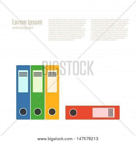 Office folder flat icon. Vector file organizer silhouette illustration. Concept file organizer. Colorful office folder icon for your design. Flat cartoon office folder isolated.