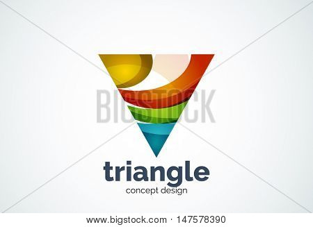 Triangle logo template, triple cycle or pyramid concept - geometric minimal style, created with overlapping curve elements and waves. Corporate identity emblem, abstract business company branding