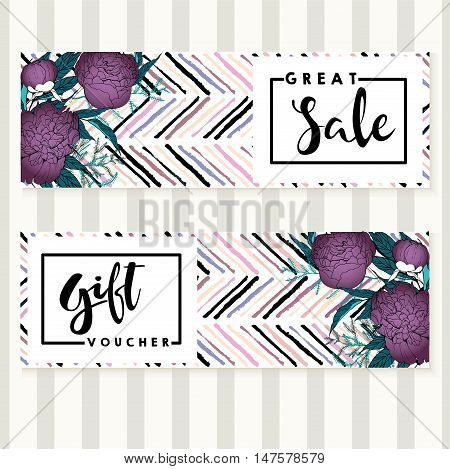 Vector set of flyer and gift voucher for great sale. Square text template. Purple peonies and chevron modern brush spot in trendy pastel colors. Use for business fashion promotion.