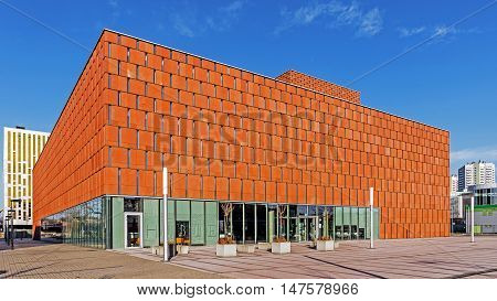 KATOWICE, POLAND - FEBRUARY 7, 2016: The Scientific Information Centre and Academic Library. Project serves the University of Silesia and the University of Economics in Katowice.