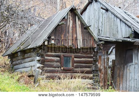 Old houses in Port Baikal village on the shore of Lake Baikal. Circum-Baikal Railway
