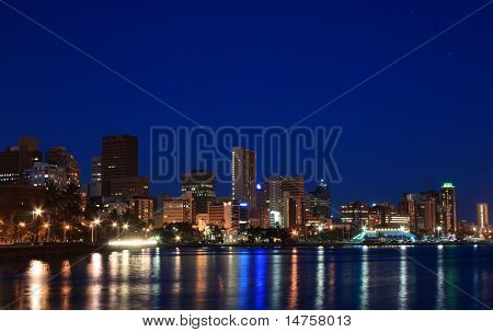 night view of coastal city Durban, South Africa
