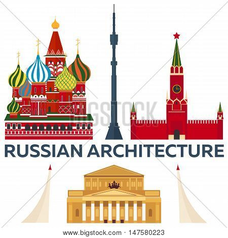 Russian Architecture. Modern flat design. St. Basil's Cathedral. Kremlin