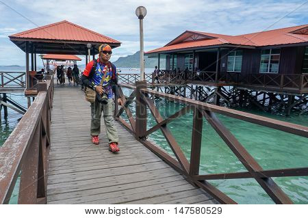 Semporna,Sabah-Sep 10,2016:A visitor seen at the Tun Sakaran Marine Park,also known as Semporna Islands Park.Bohey Dulang Island is one of the most popular islands in Tun Sakaran Marine Park Semporna.