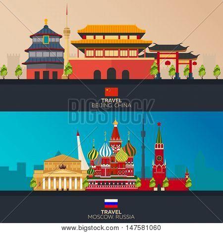 Travelling illustration Beijing city and Moscow. Modern flat design. Beijing skyline. Moscow skyline. Set travel illustration