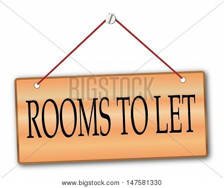 Rooms to Let plack in woodgrain with red string and screw