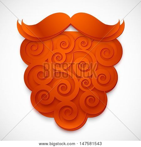 Red curly paper vector fake beard with mustaches isolated on white background