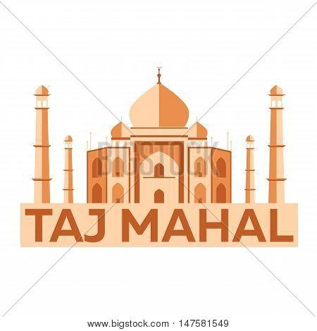 Taj Mahal. Agra. Indian architecture. Modern flat design. Vector illustration