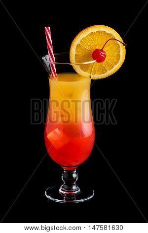 Tequila Sunrise Cocktails On Black Background