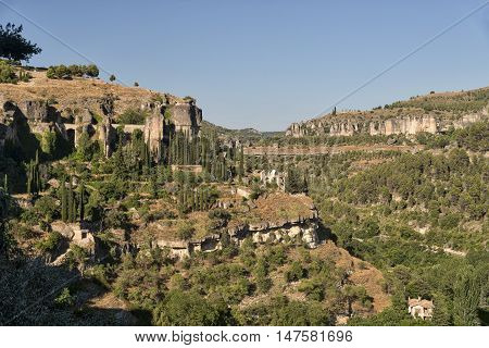 Cuenca (Castilla-La Mancha Spain) mountain landscape with old buildings and ruins