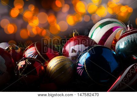 Closeup Old Vintage Christmas Balls With Various Decorations