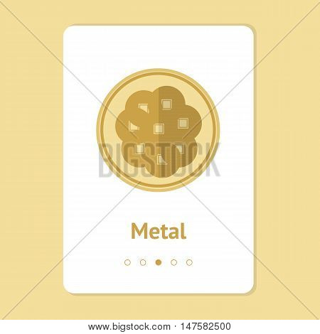Element, symbol of feng shui in flat design: metal. Web design banner, layout. Concept