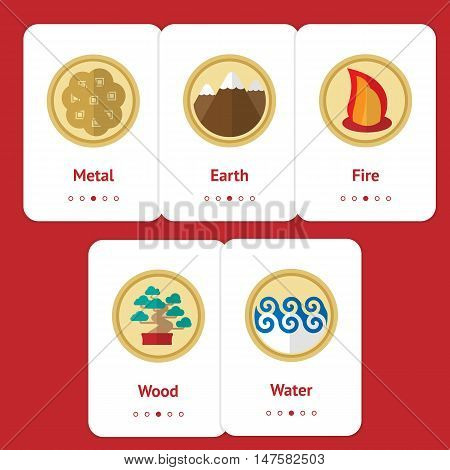 Five elements of feng shui in flat design: fire, water, wood, earth, metal. Web design banner, layout, cards