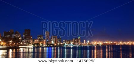 night scene of coastal city - Durban, South Africa