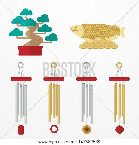 Flat Set mascots Feng Shui elements: fish, bonsai, coins, wind chime