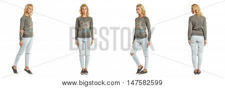 Young Sexy Blond Woman In Green Pullover Isolated