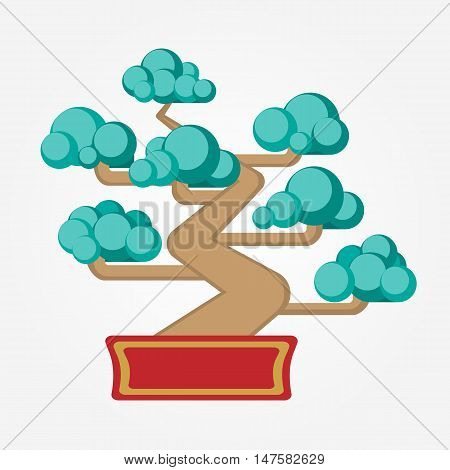 Flat Feng Shui Bonsai tree. Element, symbol of feng shui in flat design: wood