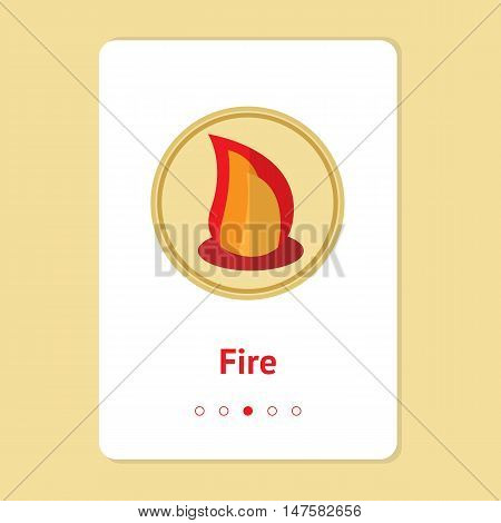 Element, symbol of feng shui in flat design: fire. Web design banner, layout. Concept