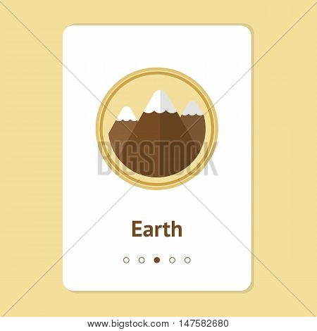 Element, symbol of feng shui in flat design: earth. Web design banner, layout. Concept mountain