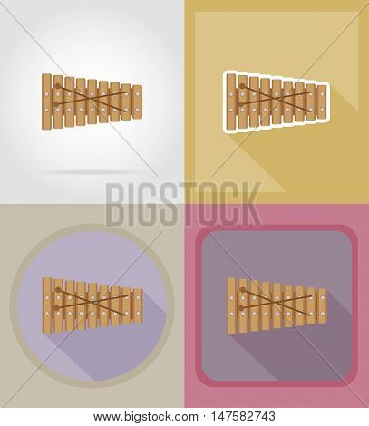 xylophone flat icons vector illustration isolated on background