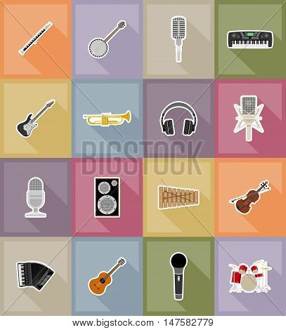 music items and equipment flat icons vector illustration isolated on background