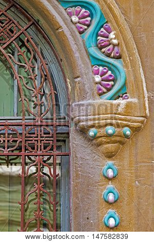 Background with architectural details on a historic building in Union Square Timisoara Romania.
