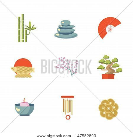 Feng Shui vector isolated icon set. Feng Shui coin, tree, fire and bamboo, sakura, stone. Feng Shui illustration. Japan, China, Asian sign