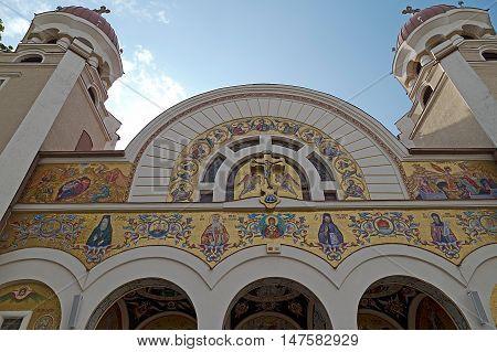 TIMISOARA ROMANIA - SEPTEMBER 13 2016: Orthodox Deanery church located in Sinaia Square of Timisoara Romania. Detail.