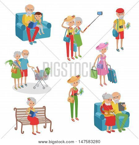 Vector set of characters in a flat style. Cartoon characters elderly.
