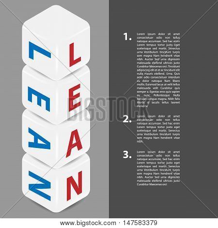 Lean strategy background. Title Lean in four cubes. Lean is modern program of productivity. Vector illustration. Place for text on the right side