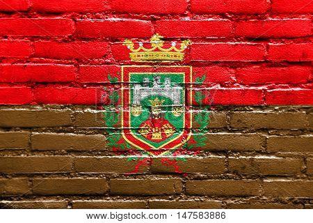 Flag Of Burgos, Spain, Painted On Brick Wall
