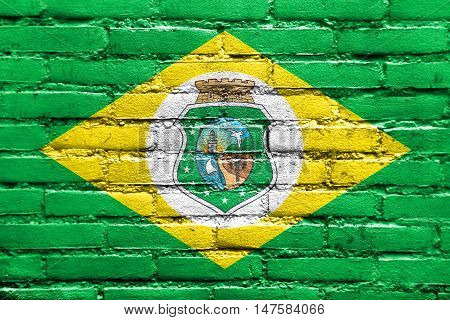 Flag Of Ceara State, Brazil, Painted On Brick Wall