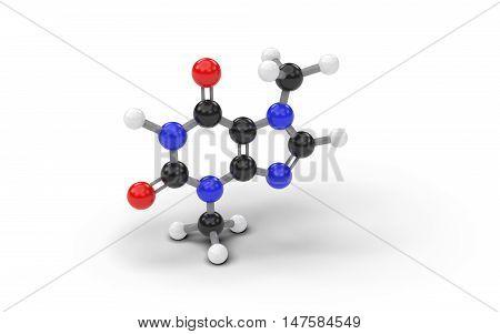 Structural model of theobromine molecule. 3D render.
