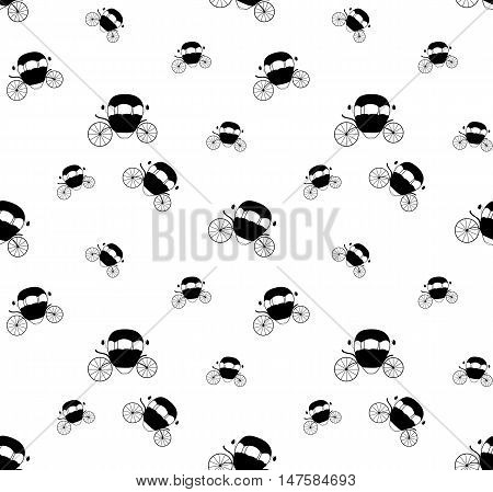 Black and White Cinderella Fairytale carriage. Seamless Pattern. Vector Illustration. EPS10