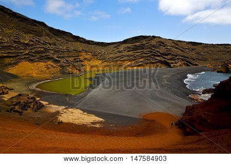 Atlantic Ocean Sky  Water  In El Golfo Lanzarote Spain Musk Pond Rock Stone