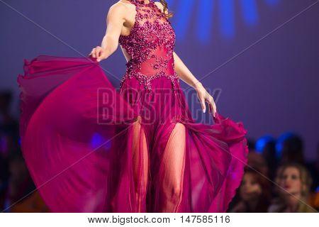 Sofia Fashion Week Female Red Dress