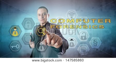 Digital forensic examiner investigating a COMPUTER FORENSICS case. Kind confident yet preoccupied facial expression. Determined and affirmative touch gesture. Concept for digital evidence analysis.