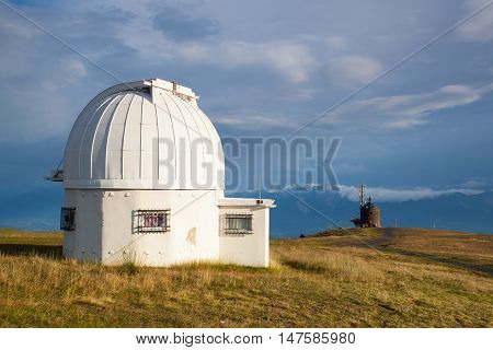 Observatory dome in the Gerlitzen Apls in Austria.View of the mountains in Slovenia.