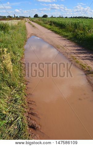 Big brown puddle on the country road after rain in countryside