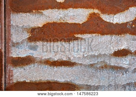 Rusting brown and grey old metal tin background