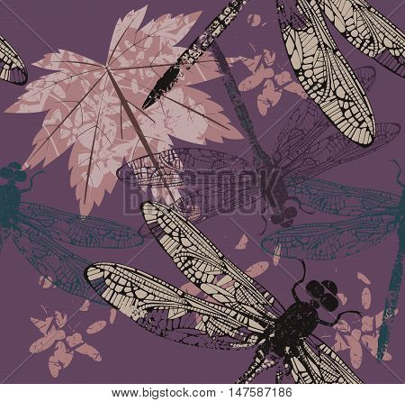 Autumn Seamless pattern with Maple leaf abstract elements and dragonflies. Template can be used for design fabric, cover and more designs. Vector image.
