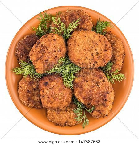 meatballs on a plate isolated on white background