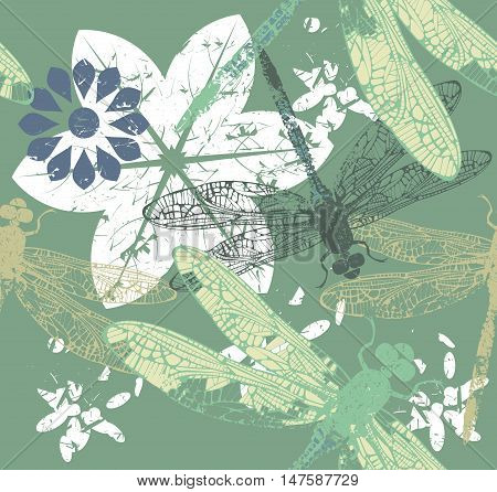 Seamless Pattern with stylish dragonfly's and flowers can be used for cards, web pages, textile, kids clothing, linen ,tile and more creative designs.