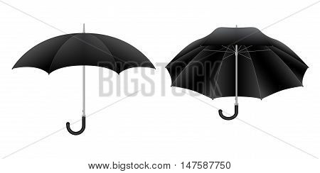 Black umbrella. Detailed isolated vector illustration on white background.