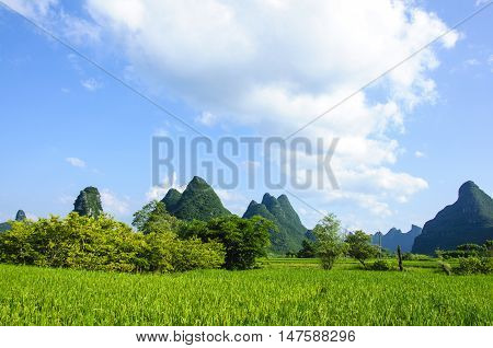 The beautiful karst mountains and rural scenery in spring, Guilin, China.