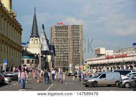 Moscow, Russia -03 June 2016. People go on Komsomolskaya Square near Leningrad and a Yaroslavl stations