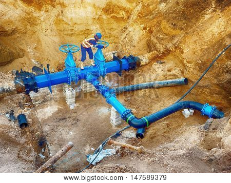 Technical Open Gate Valve On Drink Water Pipes Joined With New Black Waga Multi Joint Members Into O