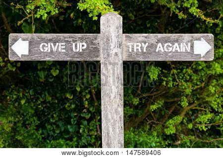 Give Up Versus Try Again Directional Signs
