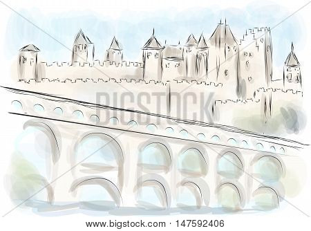languedoc. abstract illustration of fort on multicolor background